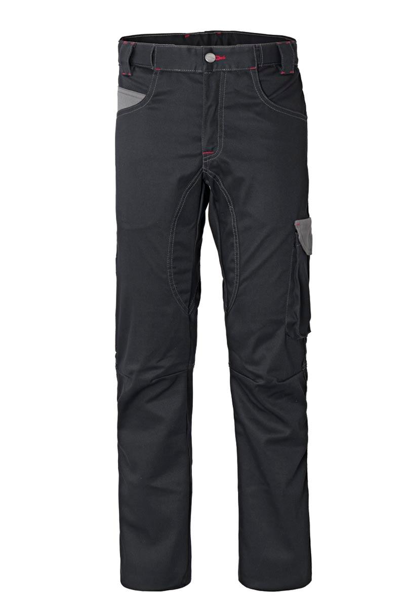 Pantalón de trabajo multibolsillo muy flexible y cómodo con elástico interno en cintura trasera, cierre de cremallera con solapa y botón en la cintura, un bolsillo interno de color a contraste,